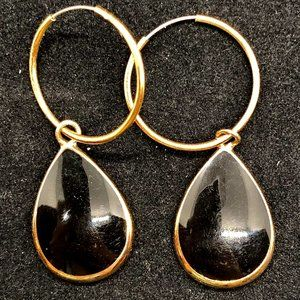 Vintage Black Enamel Teardrop Dangle Earrings